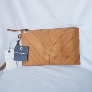 Lucky Brand Tan Leather Wristlet / Clutch Bag